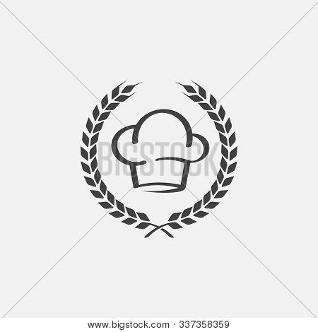 Hat For Chef Kitchens, Chef Hat Icon Vector, Chef Cap Design With Laurel Wreath