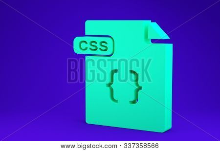 Green Css File Document. Download Css Button Icon Isolated On Blue Background. Css File Symbol. Mini