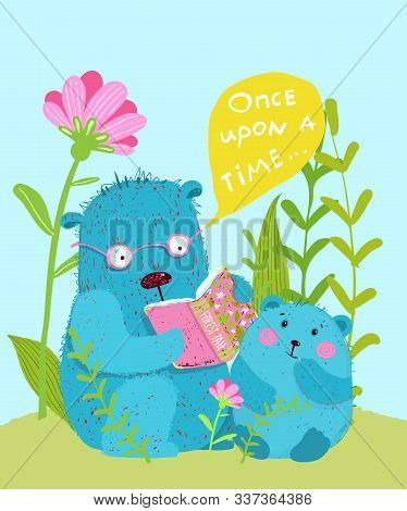 Cute Teddy Bear And Bear Cub Reading Fairy Tale Together Kids Greeting Card Design.