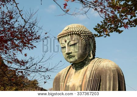 Colse Up Of Daibutsu Statue At Kotoku-in Temple; Monumental Outdoor Bronze Statue Of Amida Buddha Wh