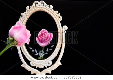 Reflection Of Rose In Vintage Mirror On Black Background. Vain Concept With Copy Space. Mirror Mirro