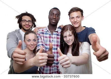 Group of five young men and women showing thumbs up sign.