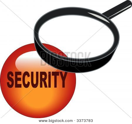 Magnifying Glass On Security Button.
