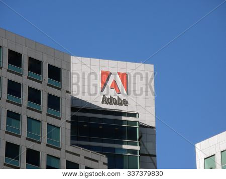 San Jose, California -  November 4, 2009:  Adobe Logo On Side Of Building.  Adobe Inc. Is An America