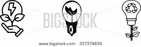Energy Conservation Icon On White Background Vector, Vision, Watt
