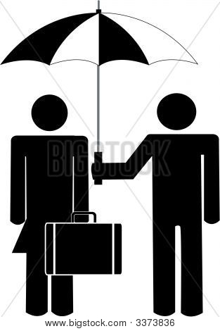 Stick Man Holding Umbrella For Business Woman