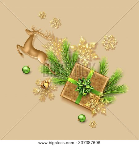 Christmas Festive Ornament. Holiday Decorations. The Branches Of The Christmas Tree, Golden Jumping