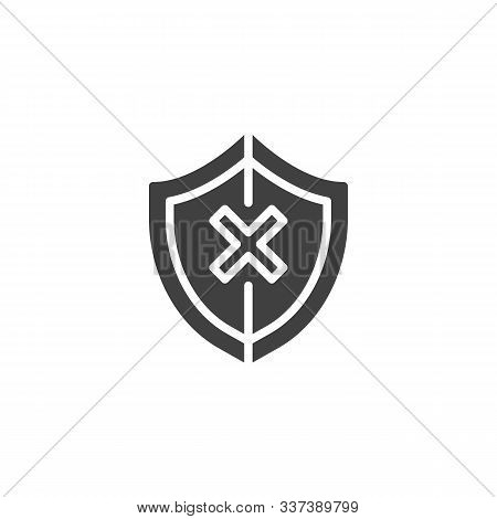 Shield insecure vector icon. filled flat sign for mobile concept and web design. Security shield with cross glyph icon. Unprotected symbol, logo illustration. Vector graphics poster