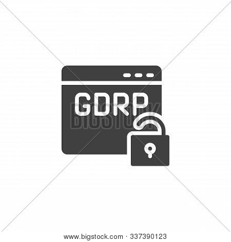 Gdpr Browser Insecure Vector Icon. Web Security Filled Flat Sign For Mobile Concept And Web Design.