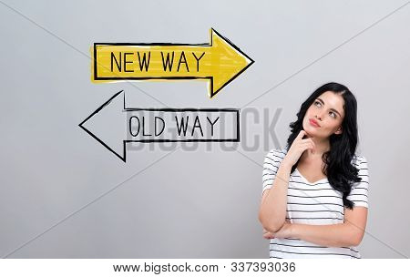 Old Way Or New Way With Young Woman In A Thoughtful Face