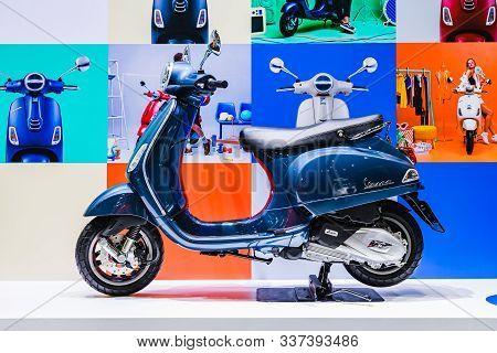 Bangkok, Thailand - Decemeber 3, 2019 : Blue Vespa Scooters At The Bangkok Motor Expo 2019 In Thaila