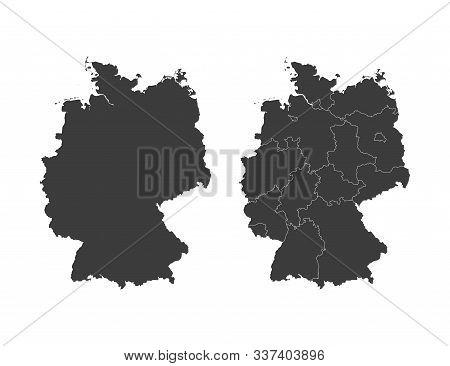 Germany Map, States Border Map. Vector Illustration.