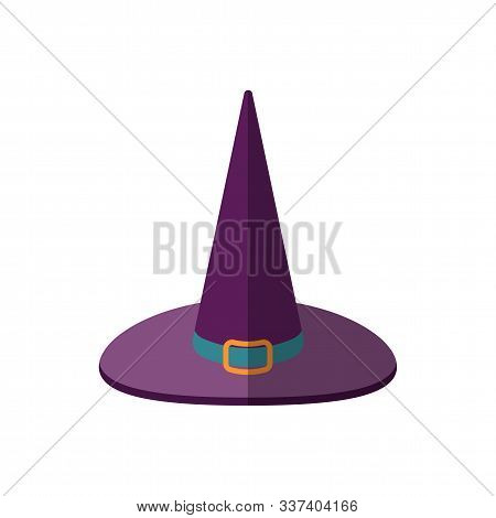 Vector Illustration Of A Cartoon Halloween Witch Hat, Flat Style. Purple Magican Witch Hat With Shar