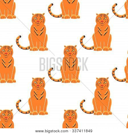 Tiger Seamless Pattern Background. Gorgeous Exotic Carnivorous Animal With Stripy Coat. Graceful Lar