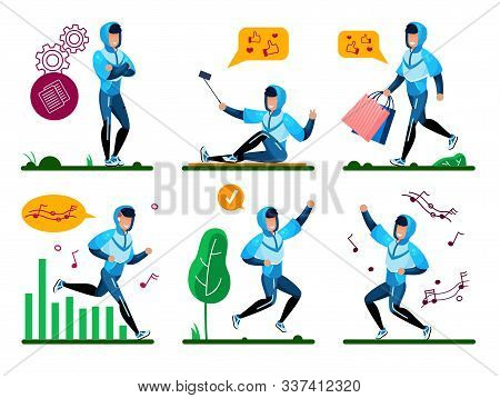 Modern Teenager, Young Man Active Lifestyle Situations Trendy Flat Vectors Set. Guy In Tracksuit Pon