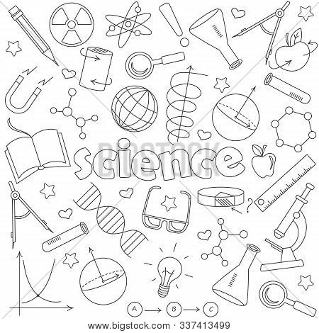 Icons Set Of Contour Icons On The Subject Of Education And Science, Dark Contour Icons On White Back