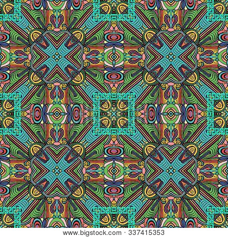 Abstract Colorful Intricate Vector Seamless Pattern. Ornamental Geometric Greek Ethnic Background. B