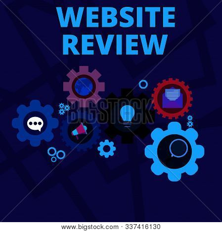 Word writing text Website Review. Business concept for Reviews that can be posted about businesses and services Set of Global Online Social Networking Icons Inside Colorful Cog Wheel Gear. poster