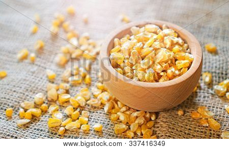 Dry Corn Seeds For A Seedling On The Sackcloth
