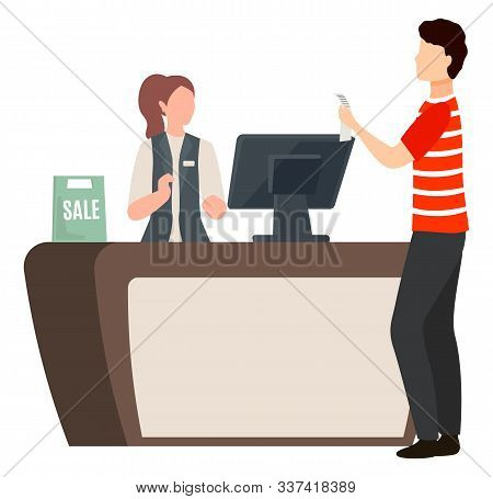 Man Stand Near Checkout Table With Receipt. Woman Working In Market As Cashier And Assistant. Guy Bu