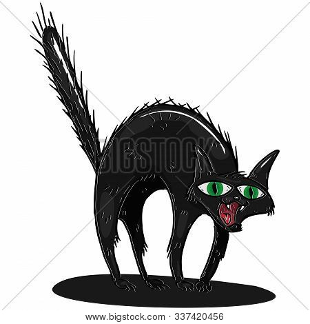 Cat Icon. Vector Illustration Of A Scared Black Cat. Hand Drawn Cartoon Shaggy Furry Cat.