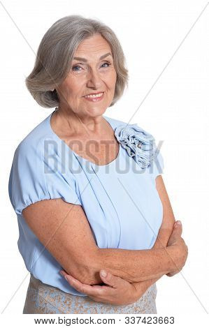 Close Up Portrait Of Beautiful Senior Woman Isolated On White Background