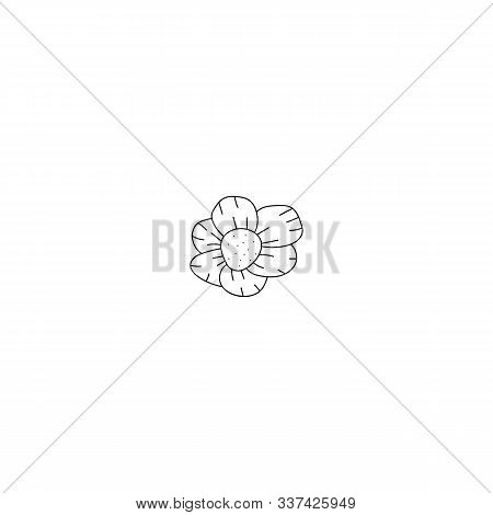 Flower Doodle Scetch Simple Icon Vector Illustration On White. Design Element