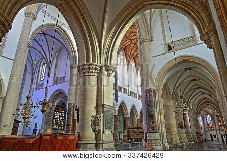 Haarlem, Netherlands - November 29, 2019: The Interior Of St Bavokerk Church, With The Nave And The