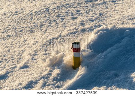 Red Marked Hiking Trail Cairn With Snow Around In Winter Martinske Hole In Mala Fatra Mountains In S