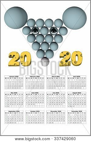 3d Illustration Of 2020 New Year Chrisrmas Calendar With Rat Image Isolated On White