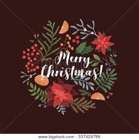 Merry Christmas Greeting Card Template. Xmas Botanical Border. Poinsettia, Mistletoe, Ilex, Mountain