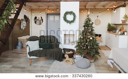 Festive Interior In Christmas Decorations. Christmas Living Room Or Dining Room. Beautiful New Year