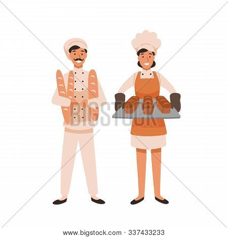 Smiling Bakers Flat Vector Illustration. Professional Bread Makers Holding Fresh Baguettes And Loave