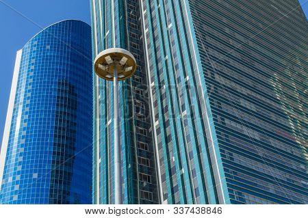 Nur-Sultan, Kazakhstan - April 24, 2019 - Close up modern office building at the Nurzhol boulevard, Nur-Sultan, Astana; Kazakhstan