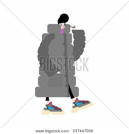 Stylish Man High-soled Sneakers And Big Down Jacket. Russia Street Fashion Winter Trend 2020. Hipste