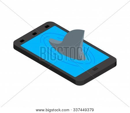 Shark In Smartphone. Shark Fin Marine Predator In Phone. See Animal In Online Internet