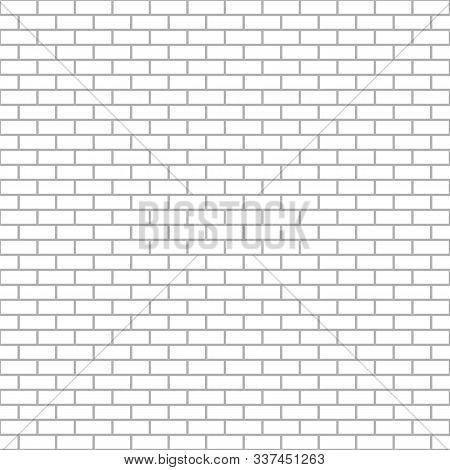 White Brick Wall Seamless Pattern, Vector Bricks Texture Background