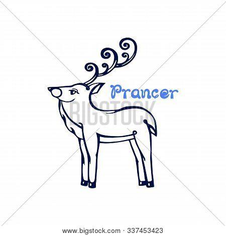 Hand Drawn Christmas Deer Prancer Isolated On White