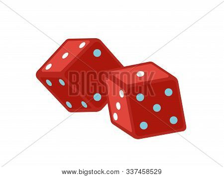 Red Dice Flat Vector Illustration. Magic Equipment. Gamble Cubes Marked With Dots. Magical Show Acce
