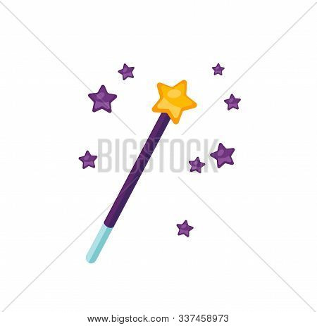 Magic Wand Flat Vector Illustration. Sorcerer Equipment Isolated On White Background. Magician Stick