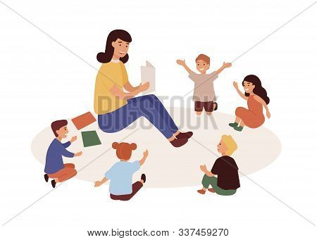 Smiling Kindergarten Teacher And Kids Flat Vector Illustration. Woman Tutor And Preschoolers Reading