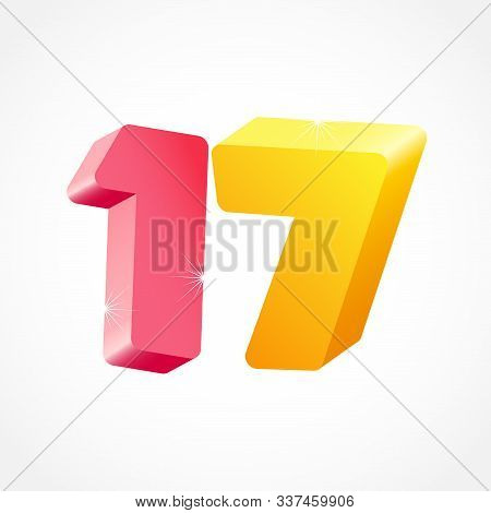 17 Th Anniversary Numbers. 17 Years Old Coloured Logotype. Age Congrats, Congratulation Idea. Isolat