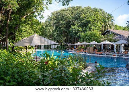 North Male Atoll, Maldives - November 23, 2019: View Of The Outdoor Swimming Pool At The Sheraton Fu