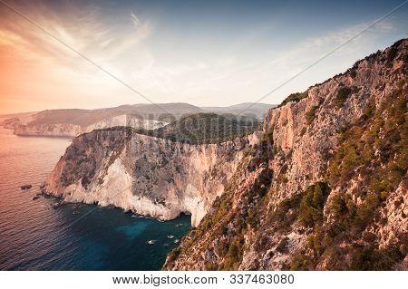 Coastal Landscape Of Cape Keri. Greek Island Zakynthos In The Ionian Sea