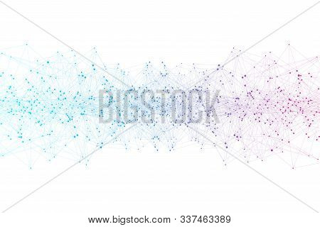 Abstract Plexus Background With Connected Lines And Dots. Wave Flow. Plexus Geometric Effect Big Dat