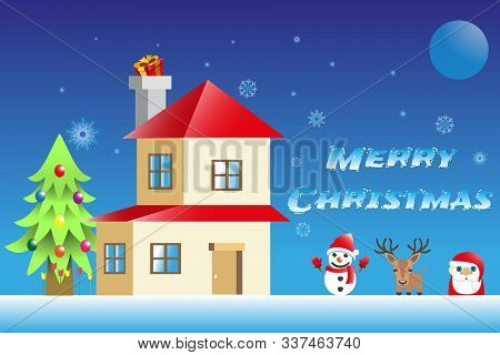 Christmas Background Illustration , Winter House, Snow Flake, Winter Night , Christmas Day, Holiday,