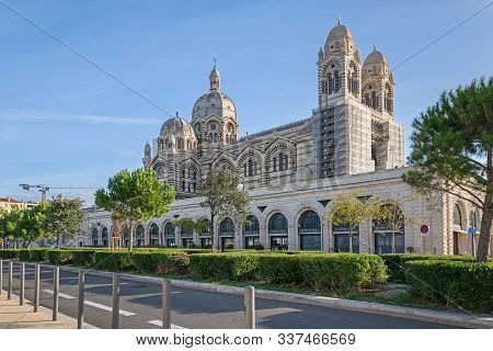 Marseille, France - November 1, 2019: Boulevard Jacques Saade And The New Cathedral Of Saint Mary Ma