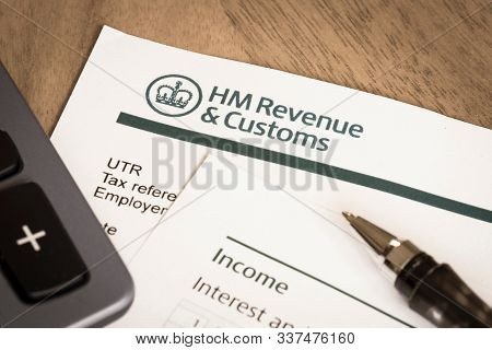 London, Uk - March 25, 2012. Hmrc Her Majestys Revenue And Customs Income Tax Return Form, Uk