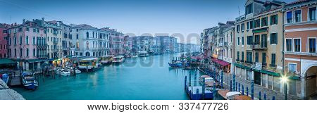 Venice, Italy - December 24, 2012. Venice At Christmas, Iconic Canal Grande Venice Scene At Dawn In