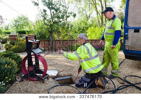 Buckingham, Uk - October 16, 2019. A Drain Cleaning Company Checks A Blocked Drain With A Camera Pri